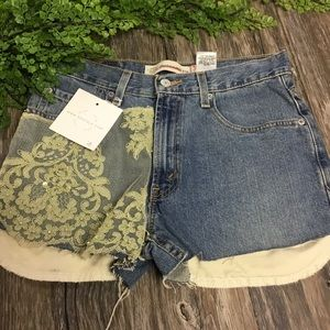Levi's relaxed fit student denim lace shorts 16
